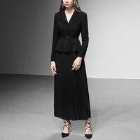 Korean Spring Women Clothing 2019 Elegant Ladies 2 Piece Office Set Black Skirt And Blazer Two Piece Outfits