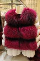 Natural Brown Real Raccoon Fur Vest Women Slim Gilet Waistcoat Belt Breasted Winter Sleeveless Adjustable Waist