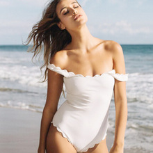 2017 One Piece Swimsuit Floral Border Swimsuits Ruffle Swimwear Swimming Suit For Girl Off The Shoulder