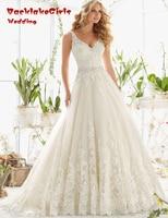 BacklakeGirls Vintage Bride Dresses 2017 Long V Neck Lace Appliques A Line Wedding Dress Vestido De