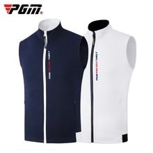 Новинка, PGM, одежда для гольфа, ветрозащитный мужской жилет, куртка для гольфа, Осень-зима, сохраняющая тепло, без рукавов, на молнии, жилет для гольфа, одежда