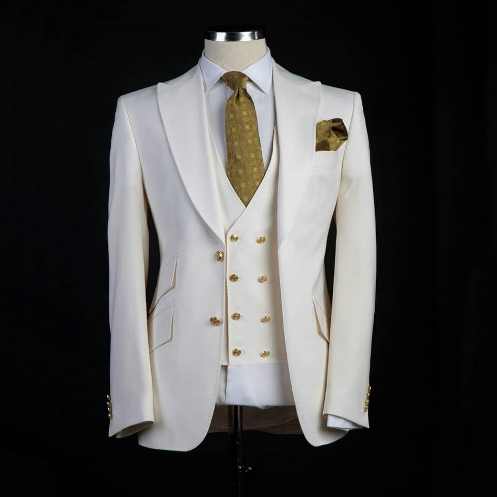 Men Wedding Suits With Pant 2019 Off White Peaked Lapel Men Suit Slim Fit Wedding Suits For Men Groom Tuxedo 3 Piece Prom Blazer
