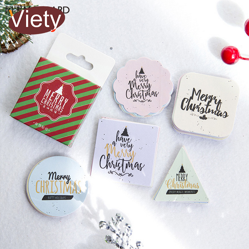 45 pcs/ Christmas greeting mini paper sticker decoration DIY diary scrapbooking seal sti ...