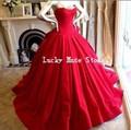 De color Rojo Negro Gótico Vestidos de Bola Vestidos de Novia de Falda Corsé Atractivo Del Satén Del Amor Por Encargo vestidos de Novia Vestido De Noiva 2017