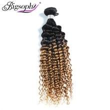 Bigsophy Hair 100% Remy Mongolian Human Hair Deep Wave Ombre Hair Bundles 1B/30 Color 1pc 10-28Inch Bundle Deals Free Shipping цена 2017