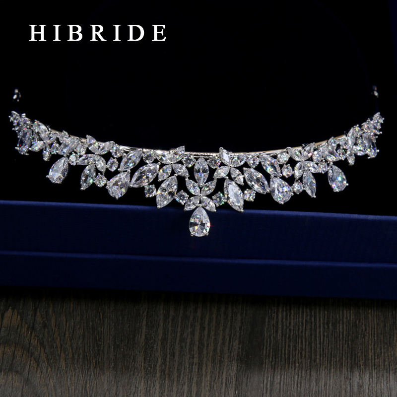 HIBRIDE Jewelry Full AAA CZ Tiara King Crown Wedding Hair Jewelry Headpiece Women Birthd ...