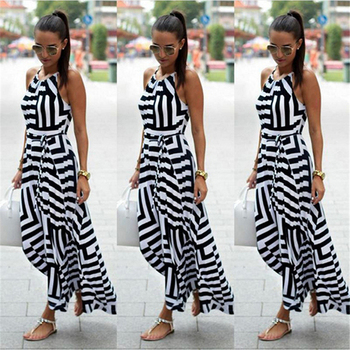 Women Dress Summer Boho Striped Sleeveless Long Dress 1
