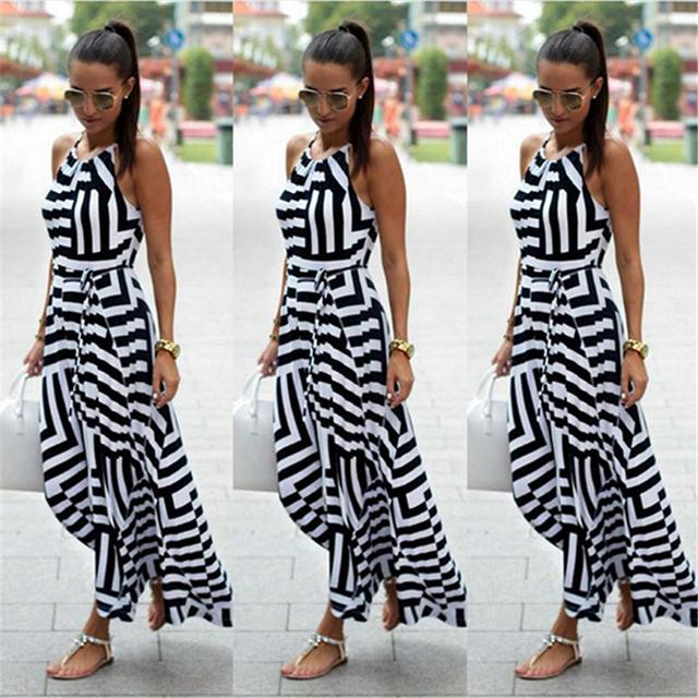 Women Sexy Summer Dress Boho Striped Sleeveless Maxi Long Dress Beach Style Strap Sundress Vestidos for Female NQ987428