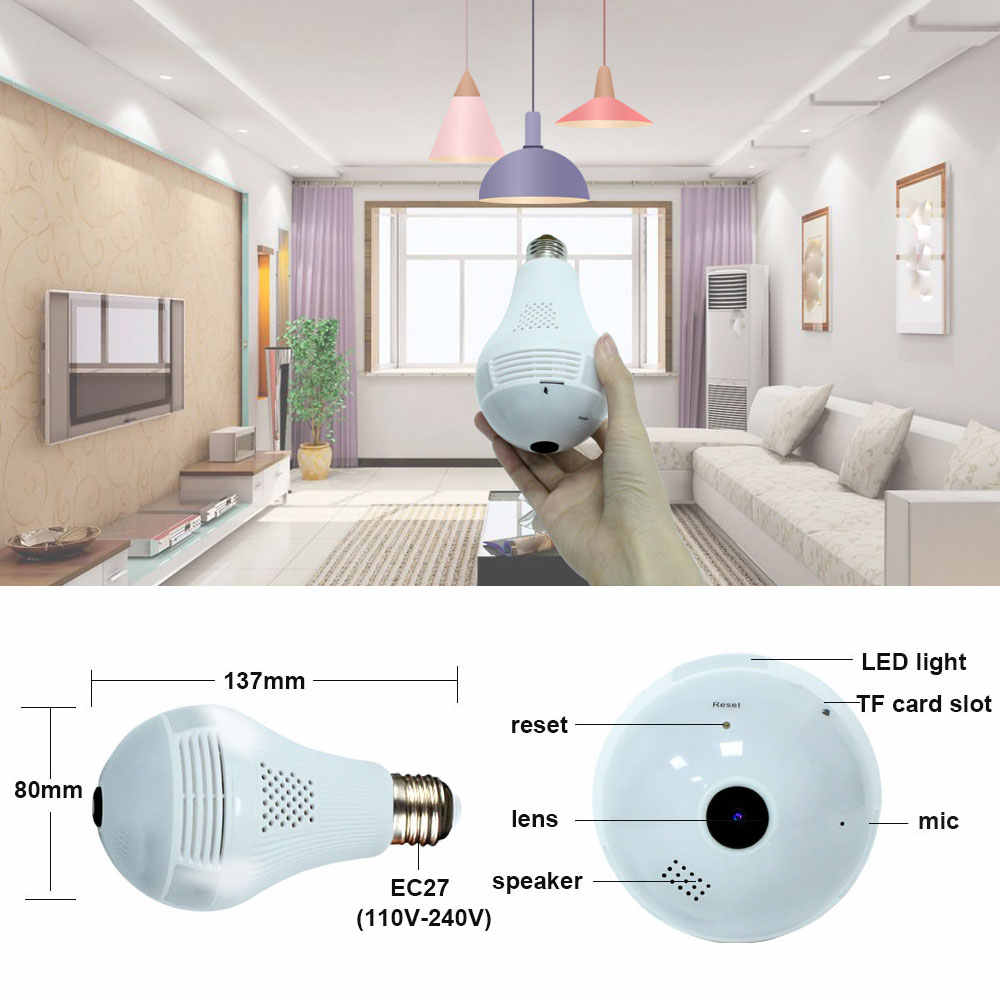 YuBeter 960p Panoramic Camera Bulb 360 Degree CCTV Home Security Video Surveillance Wifi Camera With Night Vision Two Way Audio