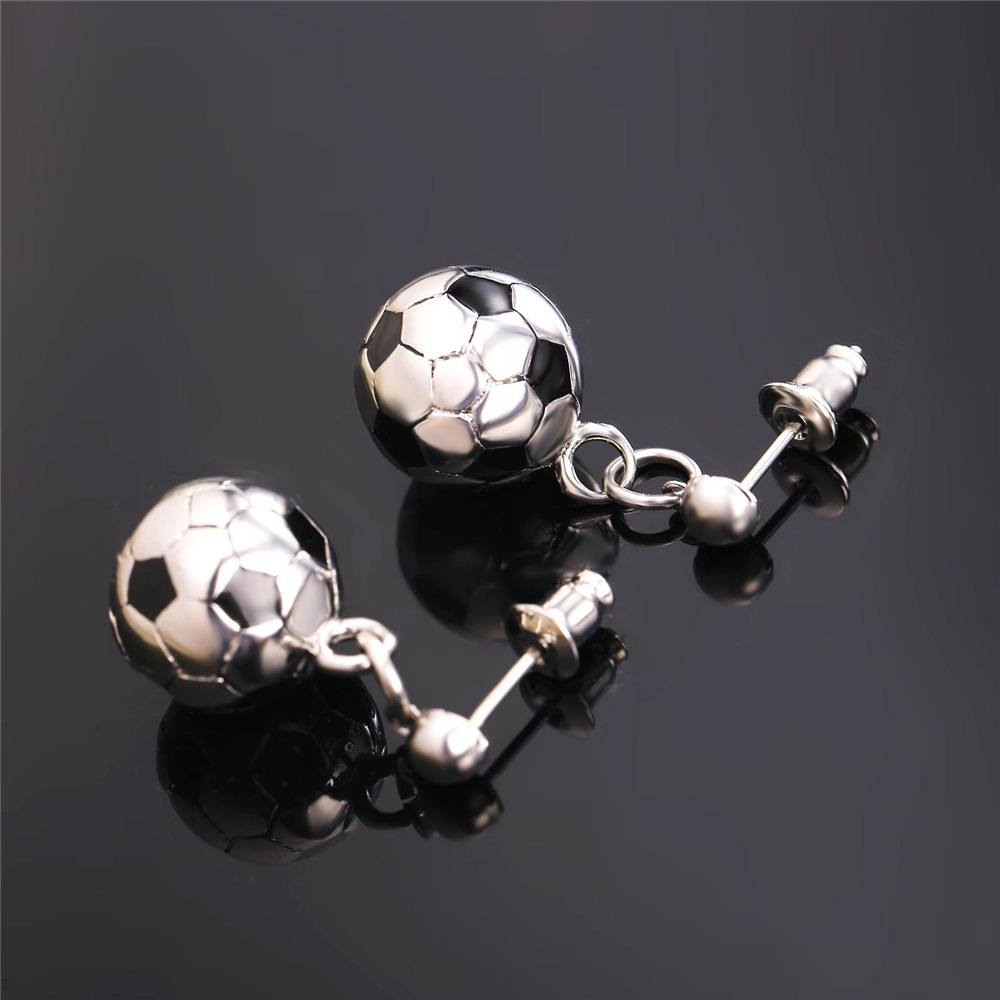 U7 New Soccer Ball Shaped Earrings Women Stainless Steel Gold Color ... 424eef2f7