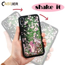 CASEIER Liquid Glitter Sand Phone Case For iPhone 6 6s 7 8 Plus X Quicksand 3D Relief Cover Plastic + Soft Edge Capa Coque Case(China)