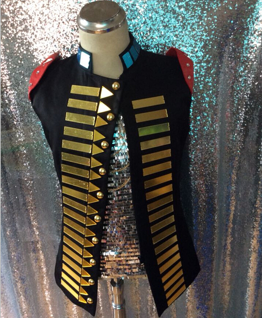 Fashion Gold Mirrors Bright Vests Jacket For Men Male Singer Dancer Costume Palace Punk Style Jazz Vests Ds Dj Jacket Costumes