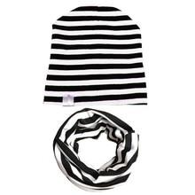 Spring&Autumn Kids Girls Boys Knit Beanie Stripe Solid Toddler Children Hats Winter Cute Cap Cotton Baby Hat Scarf Set