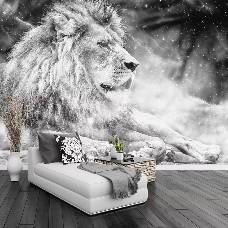 Custom Photo Wallpaper Mural Black And White Animal Lion Papier Peint Mural 3D Living Room Sofa Bedroom Background Decor Paper