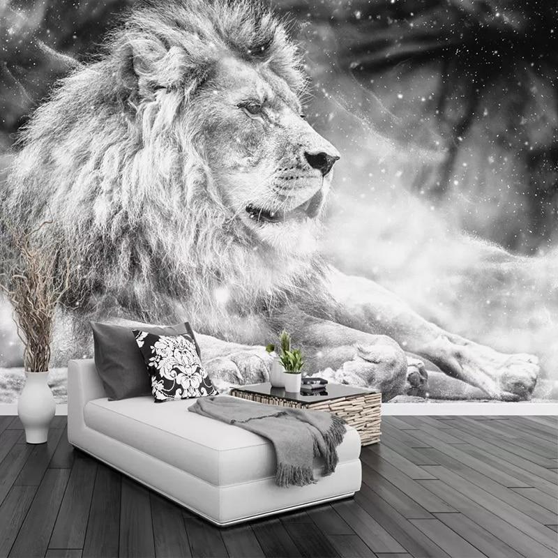 Custom Photo Wallpaper Mural Black And White Animal Lion Papier Peint Mural 3D Living Room Sofa Bedroom Background Decor Paper