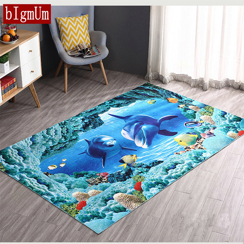 Carpet For Bedroom Multi Size 3D Dolphin/Stone/Floral/Tree Soft Floor Carpet Sea Ocean Living Room Floor Rugs Slip Resistant Mat