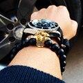 New Atolyewolf Men Dull Polish Matte Stone Bead Bracelets Micro Pave Black CZ Zirconia Gold Plated King Crown Charm Bracelet