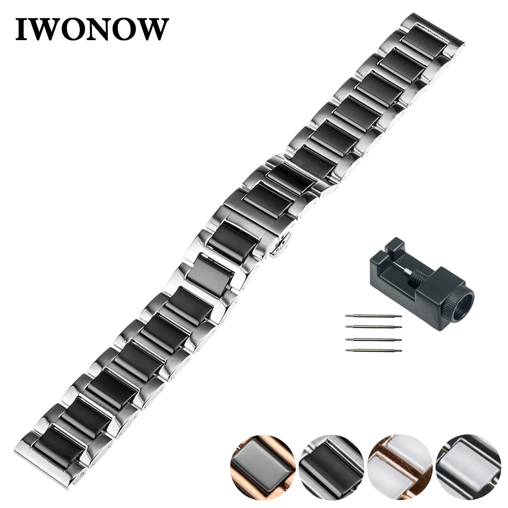 Ceramic Watch Band 18mm 20mm 22mm for Cartier Butterfly Buckle Strap Wrist Belt Bracelet Black White Silver + Spring Bar + Tool silicone rubber watch band 20mm 22mm for luminox strap wrist loop belt bracelet high quality men women black tool spring bar