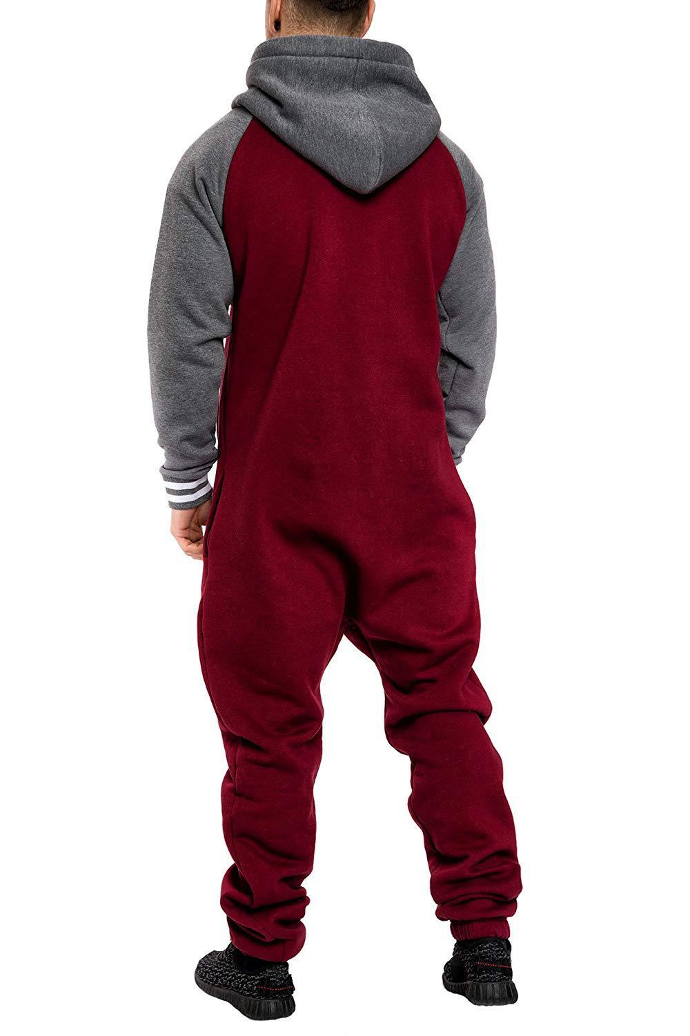 Casual Autumn Hooded Tracksuit Jumpsuit Long Pants Romper For Male Mens Fleece warm Overalls Sweatshirts Male Streetwear X9126 18