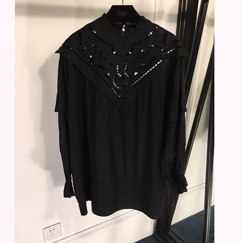 Blouse 2019 Haute Imprimé Bureau Coton Mode Qualité Pour Femmes qEUgEA