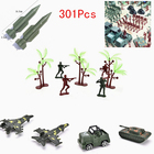 301Pcs Plastic Model Playset Toy Soldiers 5cm Action Figures Soldiers Army Men Tank Accessories Army Sand Scene Model Sand Table