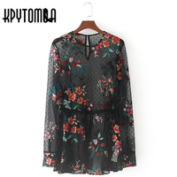 Vintage Floral Embroidered Tulle Black See Through Dot Mesh Blouse Women 2017 New Fashion Long Sleeve