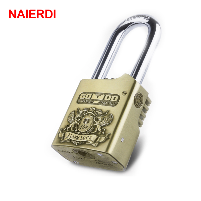 NAIERDI AL50 Waterproof Siren Alarm Padlock 110dB Security Lock Disc Brakes Bicycle Smart Locks For Home Motorcycle Bike Scooter 2016 orange manual and automatic bluetooth smart window lock bicycle lock luggage lock stainless steel padlock hot sale