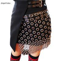 Sexy Unique Punk Rock Irregular Ini Skirt Women Metal Ring Cutout Leather Strap Spliced Skirt British