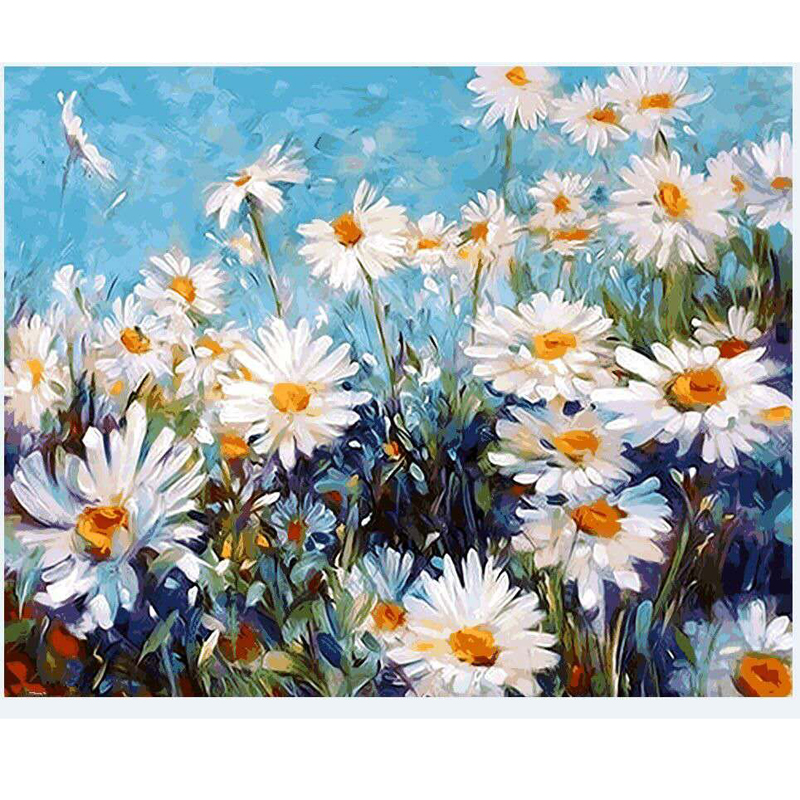 2017 White daisy diy Oil Painting By Numbers Wall Pictures For Living Room Coloring By Numbers Canvas Painting Wall Art Decor