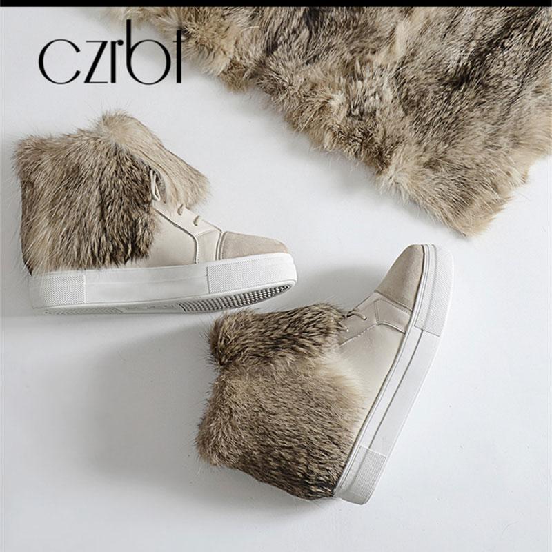 CZRBT hiver chaussures pour femmes ceinture en cuir chaud peau de lapin doux bottes de neige pour les femmes mode confortable chaussures pour femmes antidérapantes - 5