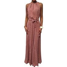 Maxi Dress Sleeveless Belted Polka Dot Halter Long Dress Women Summer Fashion Women Wedding Party Dress Elegant vestidos H30 цена 2017