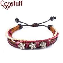Genuine leather bracelets for women Flower jewelry pulseira masculina feminina erkek bileklik Punk bracelet femme