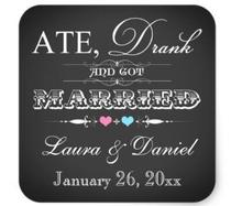 1.5inch Vintage Chalkboard Style Wedding Favor Sticker