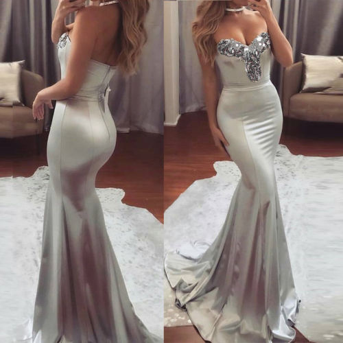 New Sexy Women Formal Prom Elegant Clothing Fish tail Dress Strapless Dress Evening Slim Party Sequins Long Maxi Dress in Dresses from Women 39 s Clothing
