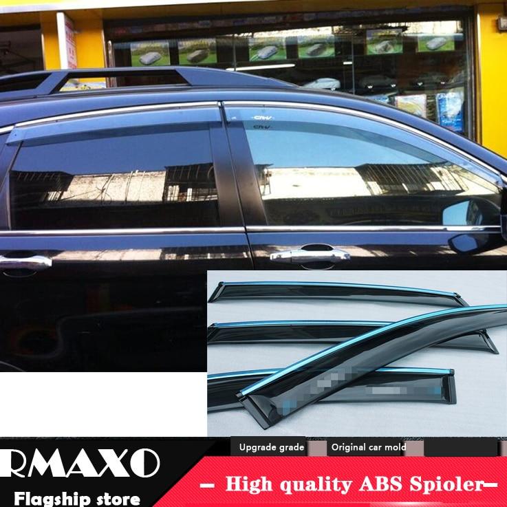 Awnings & Shelters For Honda Cr-v Crv 2017 2018 Plastic Window Visor Sun Guard Rain Vent Deflector Shield Accessories With Side-silver Chromed 4pcs