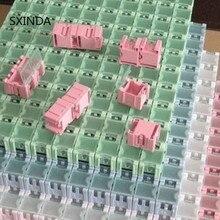 100 pcs smd 구성 요소 컨테이너 스토리지 박스 전자 케이스 키트 25x31.5x21.6mm