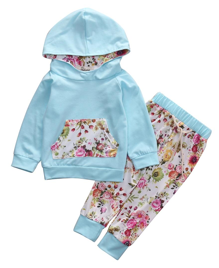 2016 Hot Sale Kids Baby Girls Clothes Warm Long Sleeve Cotton Floral Pocket Hodded Sweatshirt+Long Pants 2PCS Baby SportswearSet