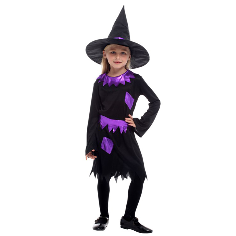 HUIHONSHE HOT Selling Halloween Costume For Children Witch Costume Girl Dress Hat Fantasia Carnival Party kid christmas