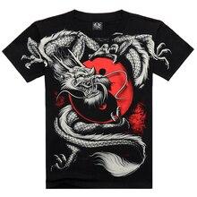 2016 sommer Mode China Tai Chi T shirt Dragon Rock baumwolle männer T-shirt Schwarz kurzarm 3D Druck Schwere Metall Stil hülse