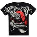 2016 verão moda de Tai Chi camisa de manga curta de algodão men preto 3D impressão de Metal estilo manga