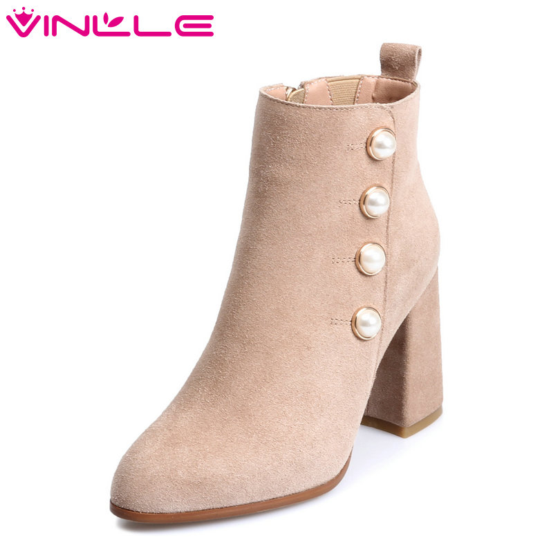 VINLLE 2018 Women Boots Ankle Boots String Bead Square High Heel Pointed Toe Scrub Zipper Ladies Motorcycle Shoes Size 34-39 vinlle 2018 women boot ankle boots square high heel scrub pu leather pointed toe zipper ladies motorcycle shoes size 34 43