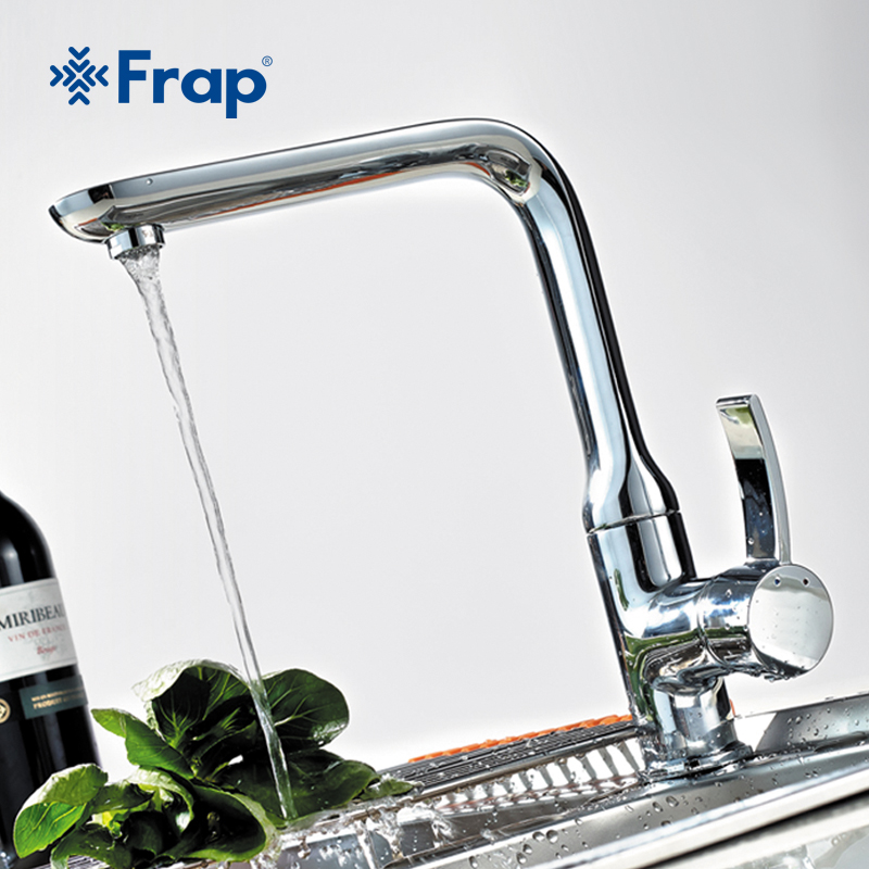 Frap Kitchen Faucet Brass chrome Polished sink faucet Mixer Tap single handle crane torneira grifo cocina cold and hot faucets polished chrome deck mounted bathroom kitchen faucet tap single handle with brass soap dispenser