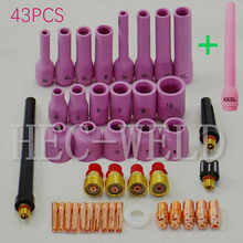 42PK+1PK Extra Longest soldering iron welding accessories Alumina nozzle gsg TIG Gas Lens KIT,Fit TIG Welding Torch SR WP9 20 25 46pcs tig gas lens collet body assorted size kit for tig welding torch sr wp9 20 25 tig welding torches tools set