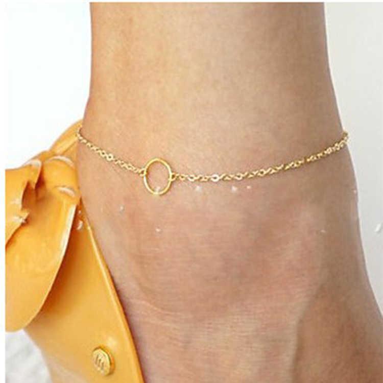 1 шт. уникальный простой золотой браслет на лодыжку ножные браслеты с цепочкой Браслеты бижутерия для ног для женщин Tornozeleira ножная цепочка Tobillera