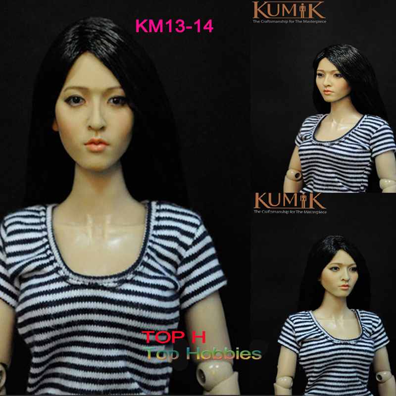 1:6 Scale Soldiers accessories KUMIK 13-14 Female Hair head Sculpt Carving Fit 12 Hot Toys Phicen Action Figure Doll Body TTL 1 6 scale figure accessories doll female head for 12 action figure doll head shape fit phicne