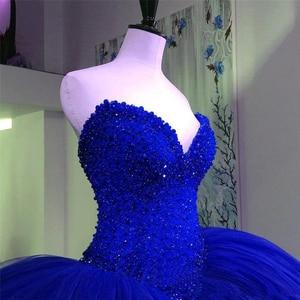 Image 4 - Red Sweetheart Wedding Dresses Beading Ball Gowns Corset Bridal Dresses Tulle Floor Length Vestido De Novia