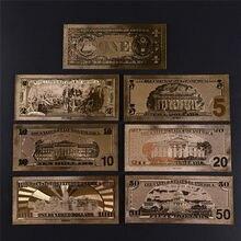 Золотые банкноты, 7 шт., позолоченные бумажные купюры для коллекции, 15*7 см/5,91*2,76 дюйма