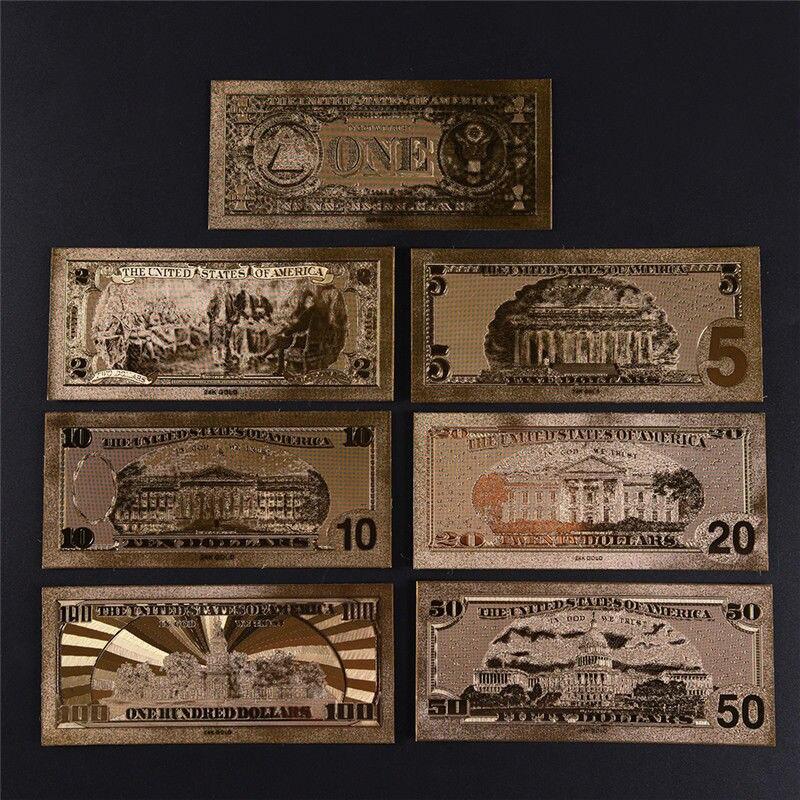 7 шт золотые банкноты в Позолоченные бумажные деньги для сбора 15*7 см/5,91 * 2.76in