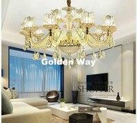 الأوروبي الحديثة كريستال أضواء الثريات الذهبي مصابيح متدلية غرفة الطعام المعيشة اللوبي مصباح الإضاءة E14 LED التيار المتناوب مصابيح شموع