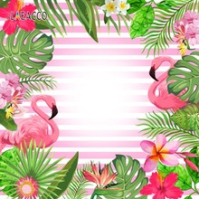 Laeacco Flamingo Flowers Leave Stripe Glitters Pattern Scene Baby Photography Background Photographic Backdrop For Photo Studio(China)